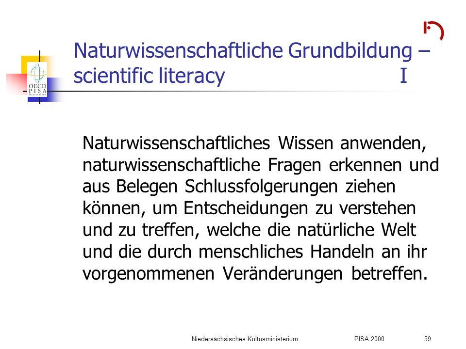 Naturwissenschaftliche Grundbildung – scientific literacy I