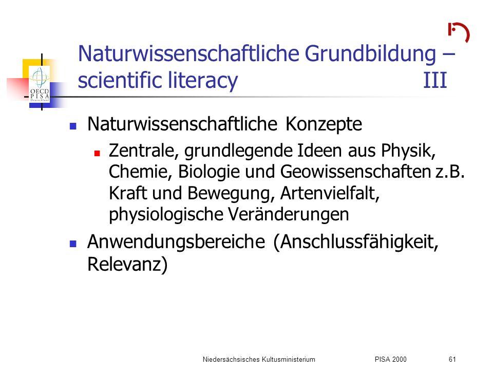 Naturwissenschaftliche Grundbildung – scientific literacy III