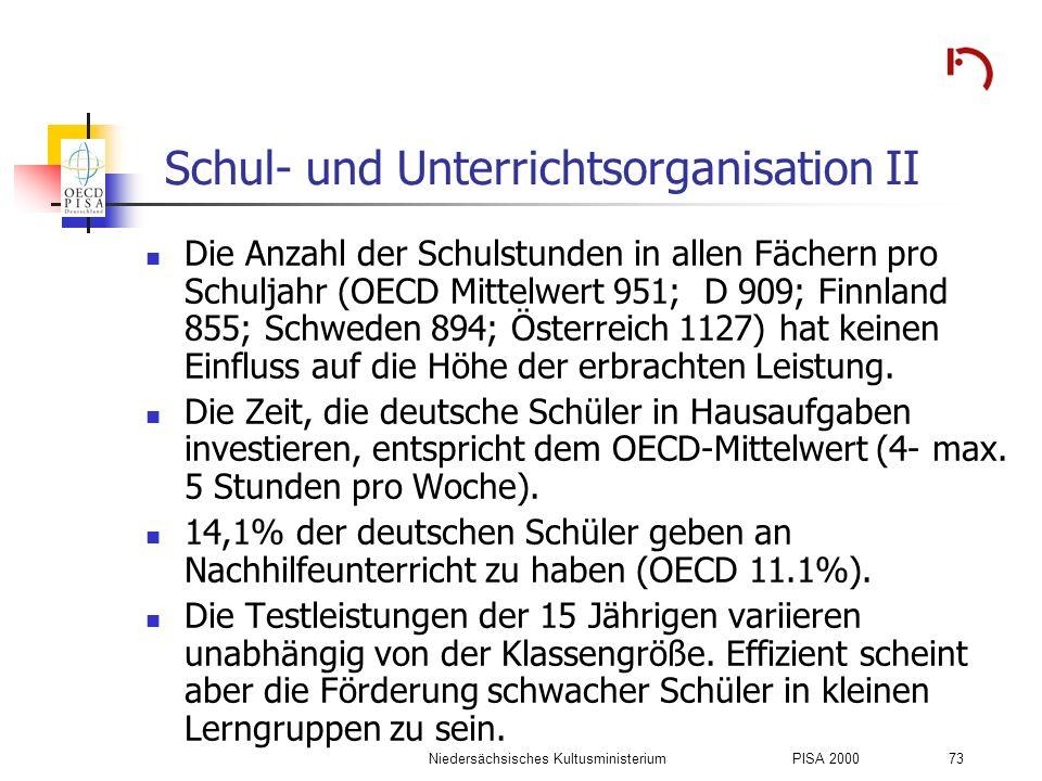 Schul- und Unterrichtsorganisation II