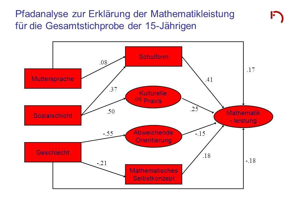 Pfadanalyse zur Erklärung der Mathematikleistung für die Gesamtstichprobe der 15-Jährigen