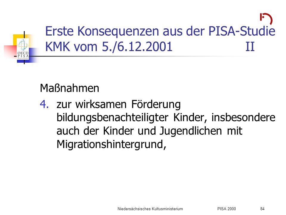 Erste Konsequenzen aus der PISA-Studie KMK vom 5./6.12.2001 II