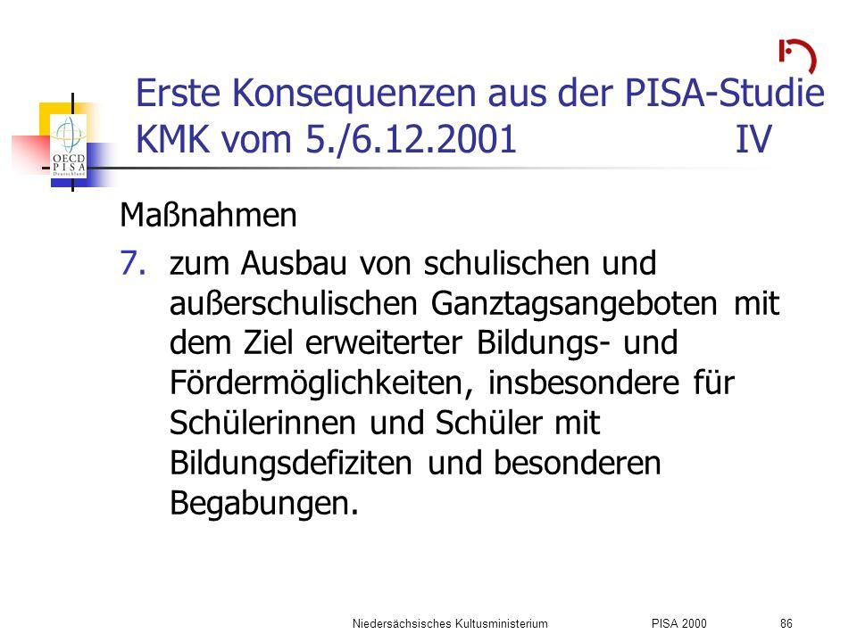 Erste Konsequenzen aus der PISA-Studie KMK vom 5./6.12.2001 IV