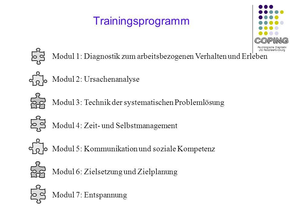 Trainingsprogramm Modul 1: Diagnostik zum arbeitsbezogenen Verhalten und Erleben. Modul 2: Ursachenanalyse.