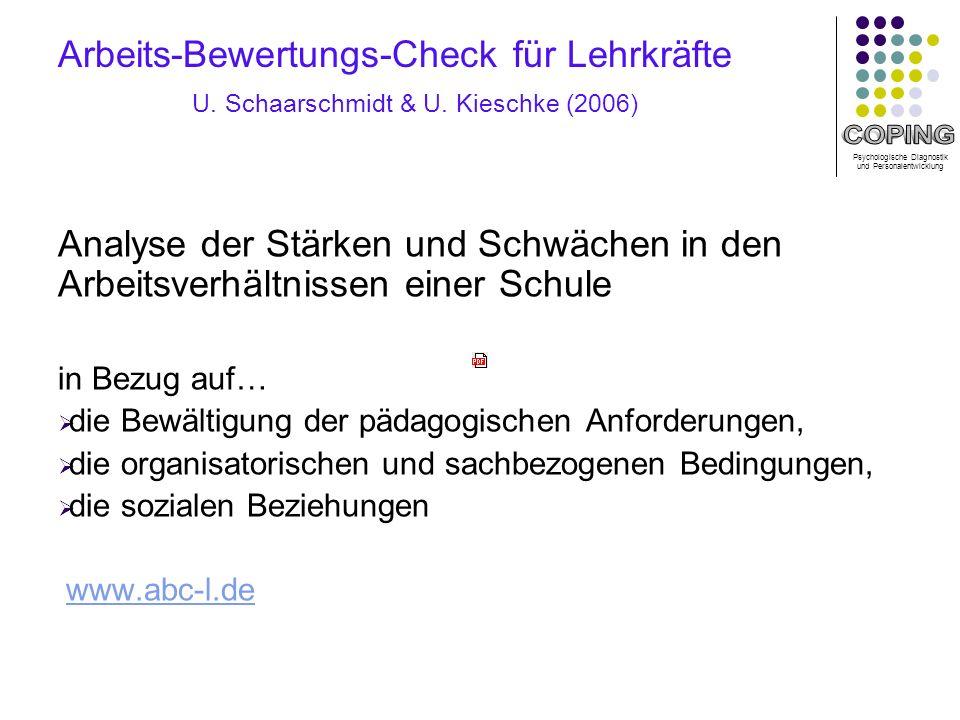 Arbeits-Bewertungs-Check für Lehrkräfte U. Schaarschmidt & U