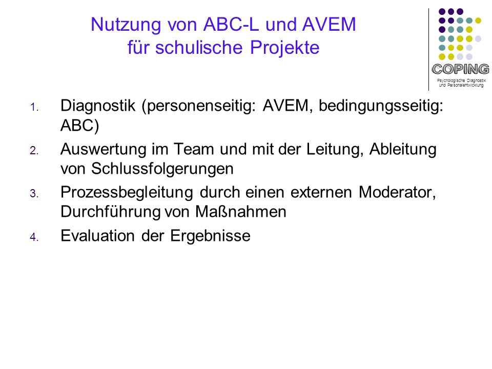 Nutzung von ABC-L und AVEM für schulische Projekte