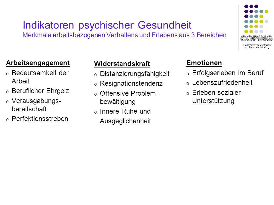 Indikatoren psychischer Gesundheit Merkmale arbeitsbezogenen Verhaltens und Erlebens aus 3 Bereichen