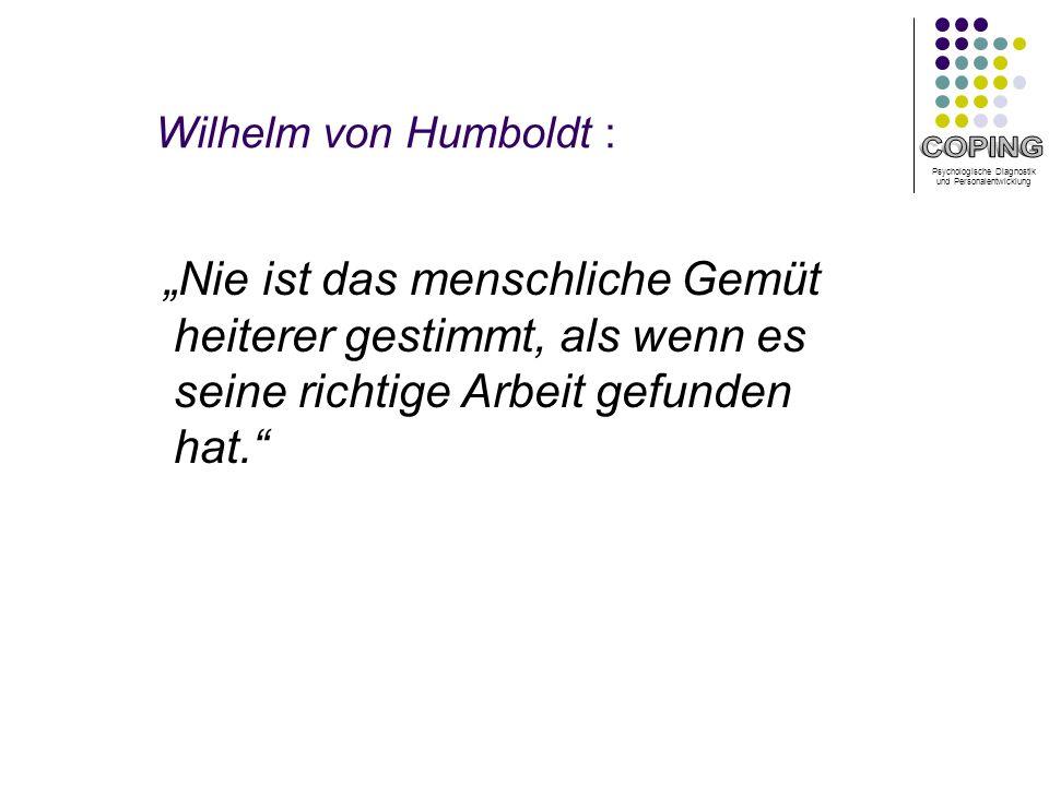 """Wilhelm von Humboldt : """"Nie ist das menschliche Gemüt heiterer gestimmt, als wenn es seine richtige Arbeit gefunden hat."""