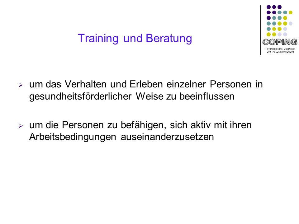 Training und Beratung um das Verhalten und Erleben einzelner Personen in gesundheitsförderlicher Weise zu beeinflussen.