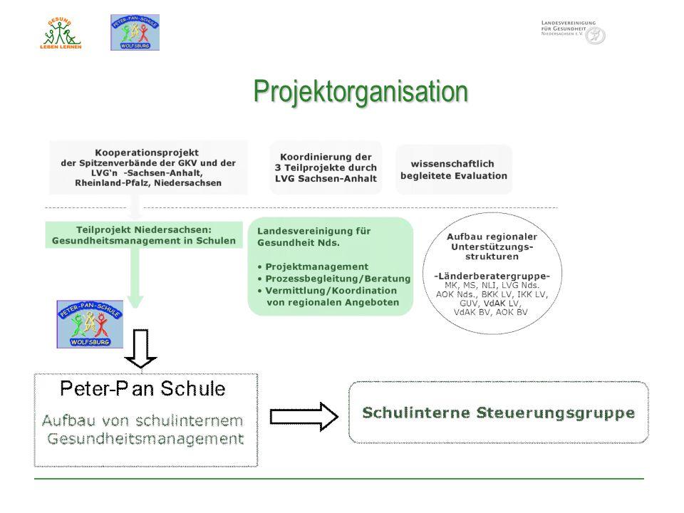 Projektorganisation Zum Aufbau eines schulinternen Gesundheitsmanagement.