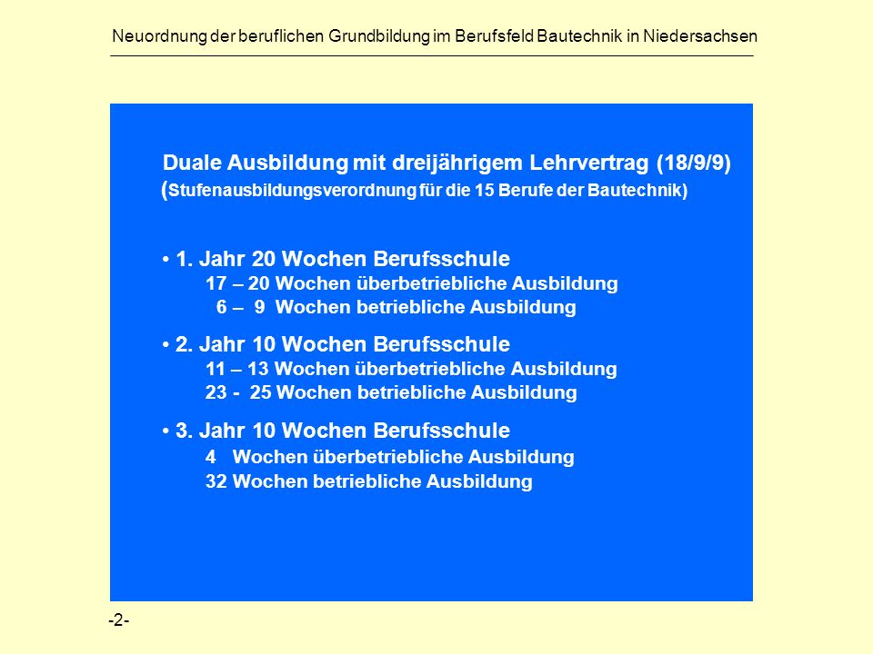Neuordnung der beruflichen Grundbildung im Berufsfeld Bautechnik in Niedersachsen