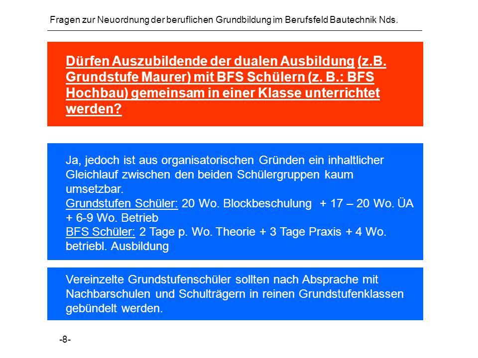 Fragen zur Neuordnung der beruflichen Grundbildung im Berufsfeld Bautechnik Nds.