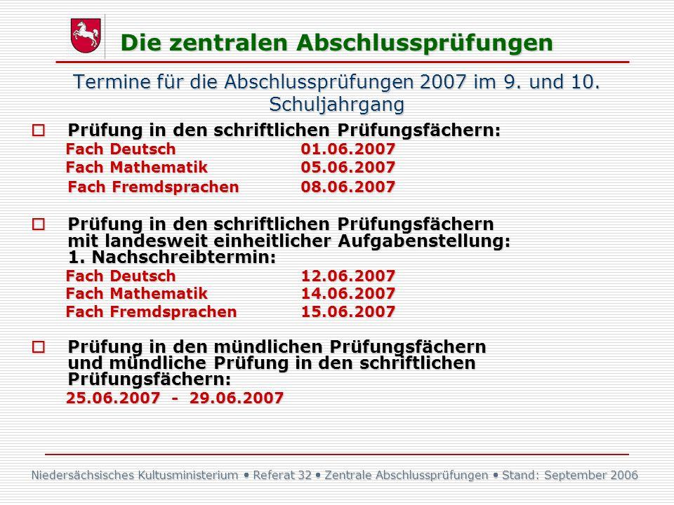 Termine für die Abschlussprüfungen 2007 im 9. und 10. Schuljahrgang