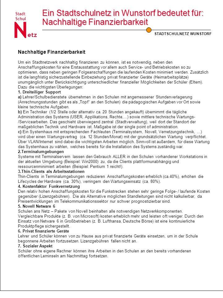 Ein Stadtschulnetz in Wunstorf bedeutet für: Nachhaltige Finanzierbarkeit