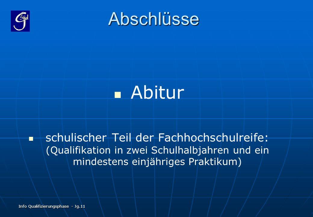 Abschlüsse Abitur. schulischer Teil der Fachhochschulreife: (Qualifikation in zwei Schulhalbjahren und ein mindestens einjähriges Praktikum)