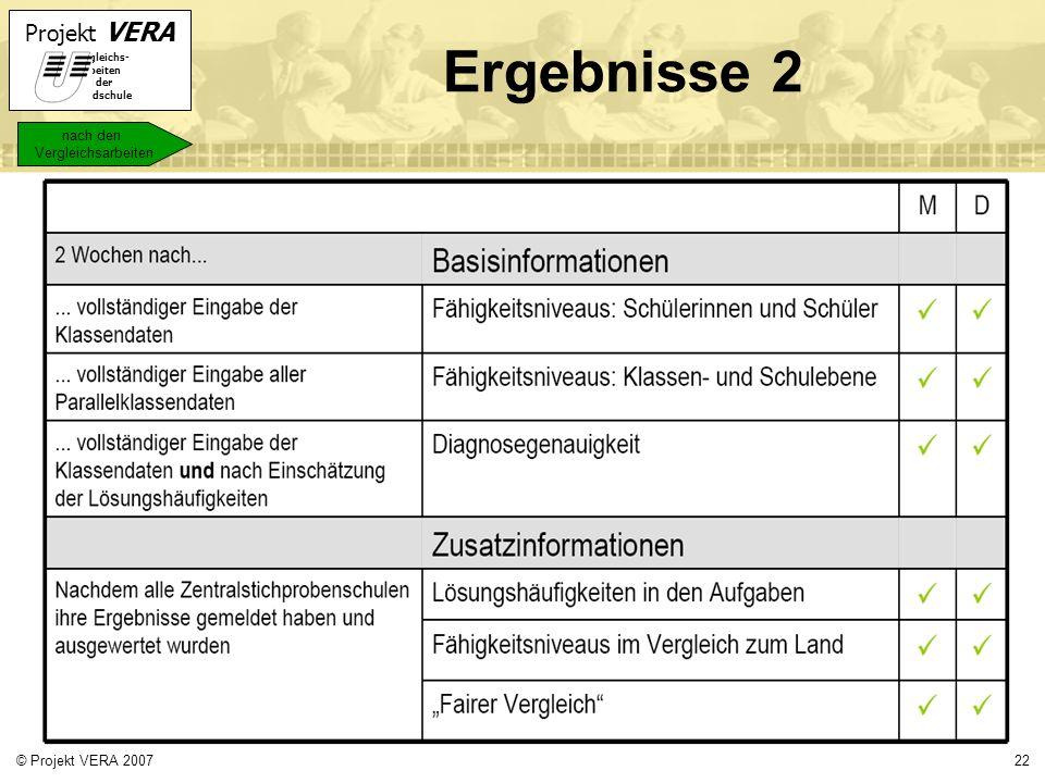 Ergebnisse 2 nach den Vergleichsarbeiten © Projekt VERA 2007