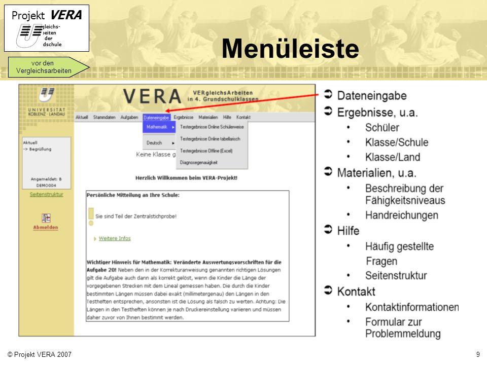 Menüleiste vor den Vergleichsarbeiten © Projekt VERA 2007