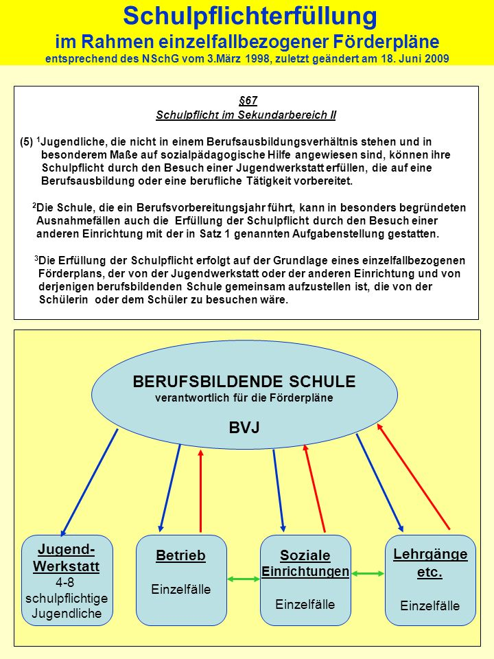 Schulpflichterfüllung im Rahmen einzelfallbezogener Förderpläne entsprechend des NSchG vom 3.März 1998, zuletzt geändert am 18. Juni 2009