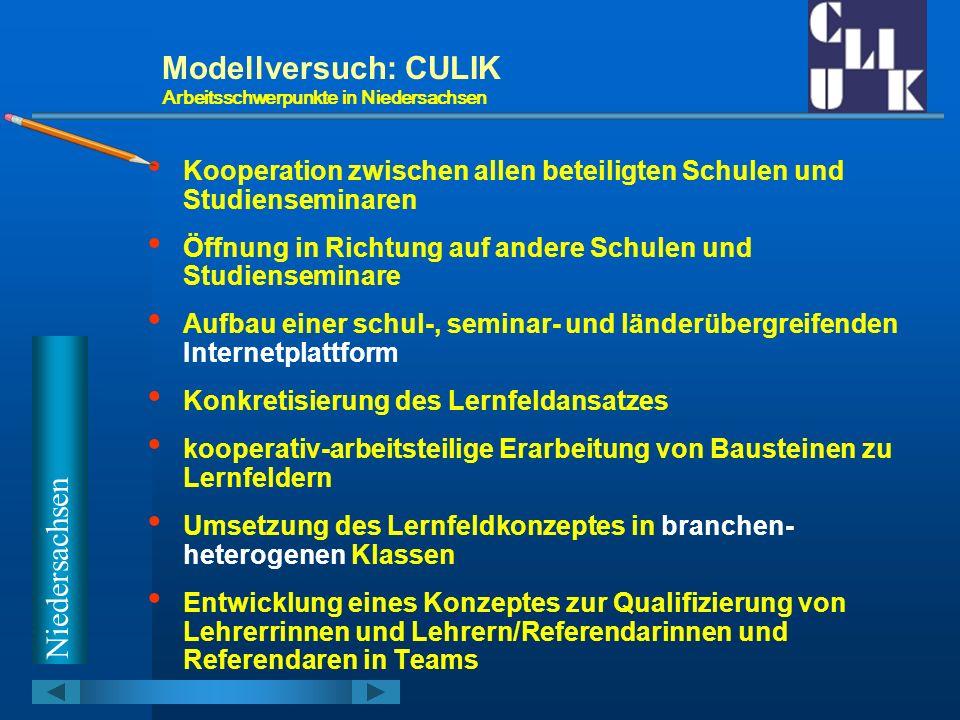 Modellversuch: CULIK Arbeitsschwerpunkte in Niedersachsen