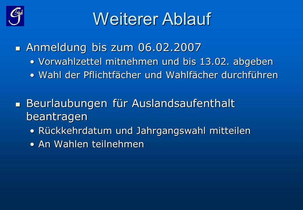 Weiterer Ablauf Anmeldung bis zum 06.02.2007