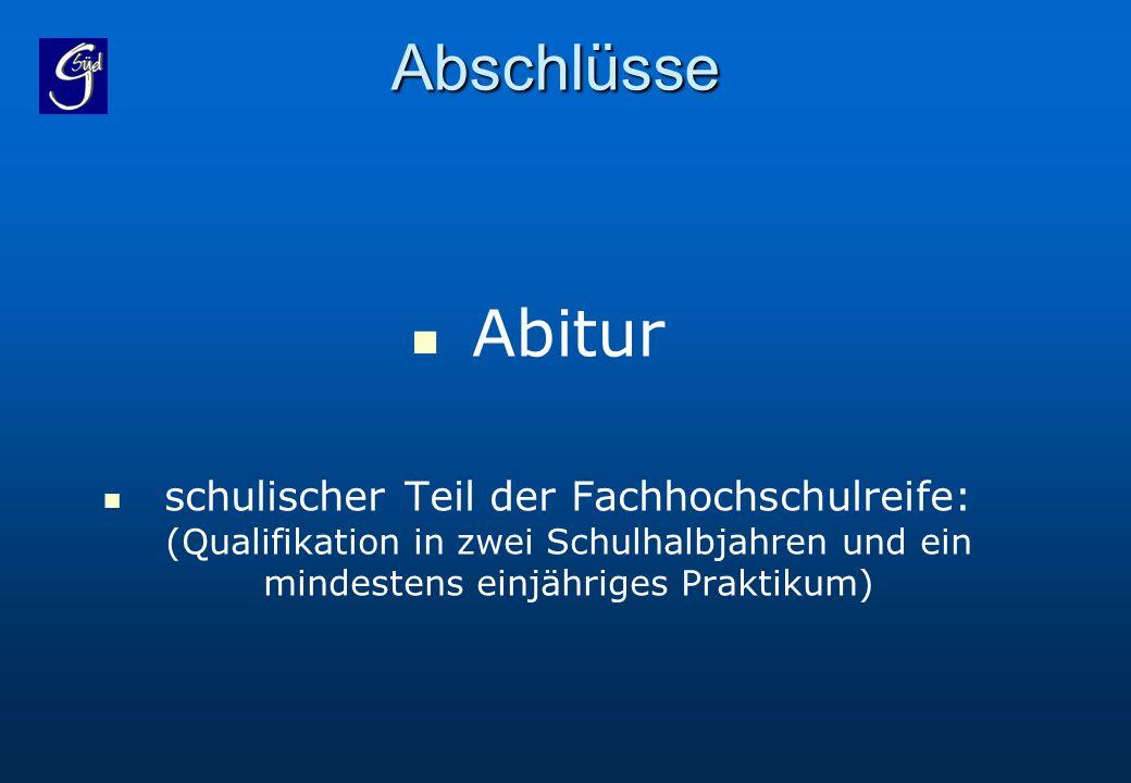 Abschlüsse Abitur.