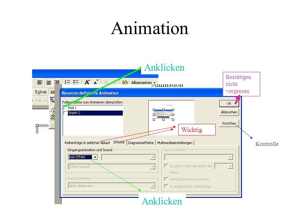Animation Anklicken Wichtig Kontrolle Bestätigen nicht vergessen