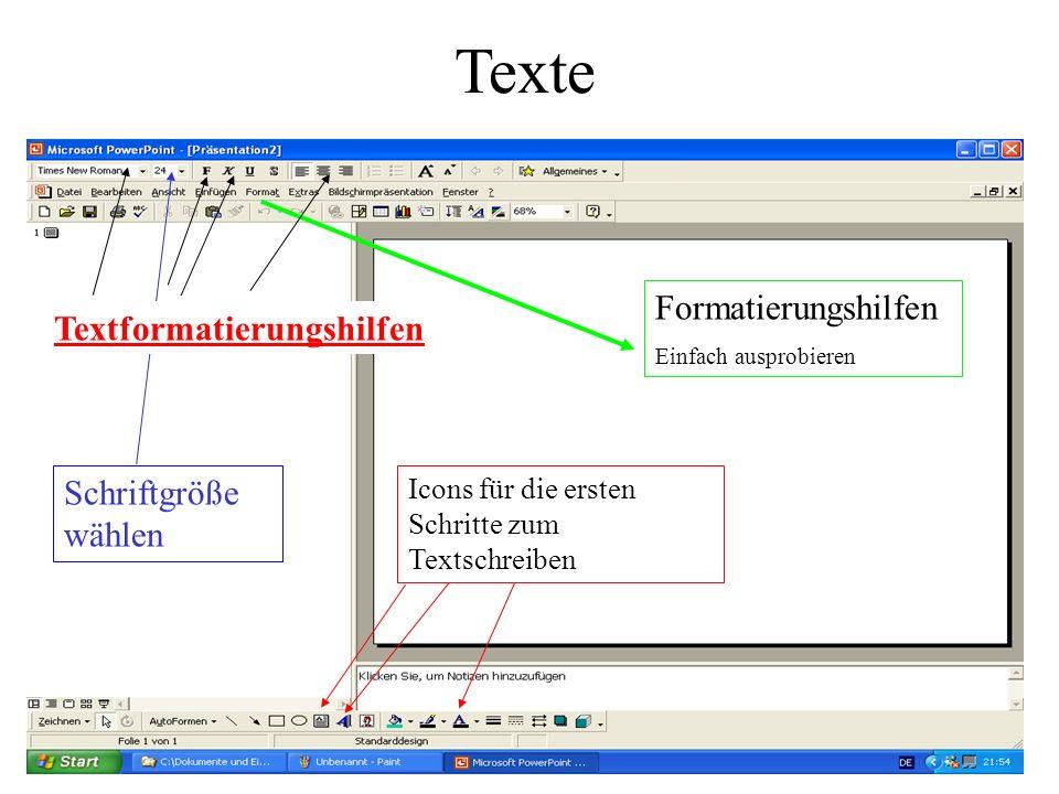 Texte Formatierungshilfen Textformatierungshilfen Schriftgröße wählen