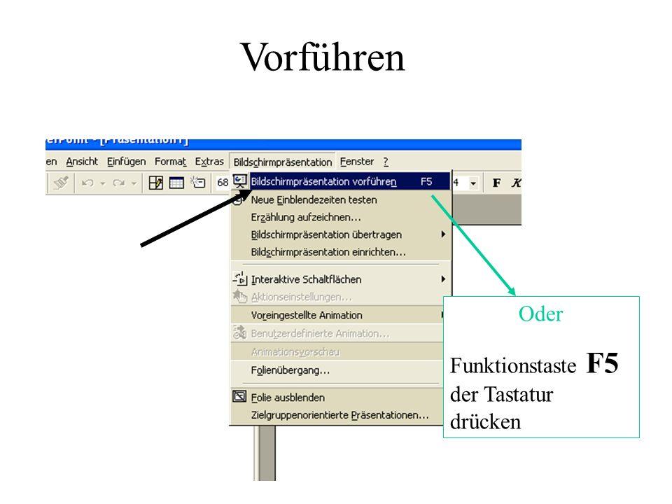 Vorführen Oder Funktionstaste F5 der Tastatur drücken