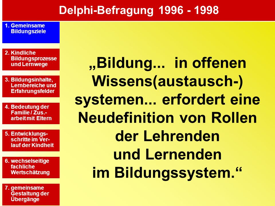 Delphi-Befragung 1996 - 1998 1. Gemeinsame Bildungsziele.