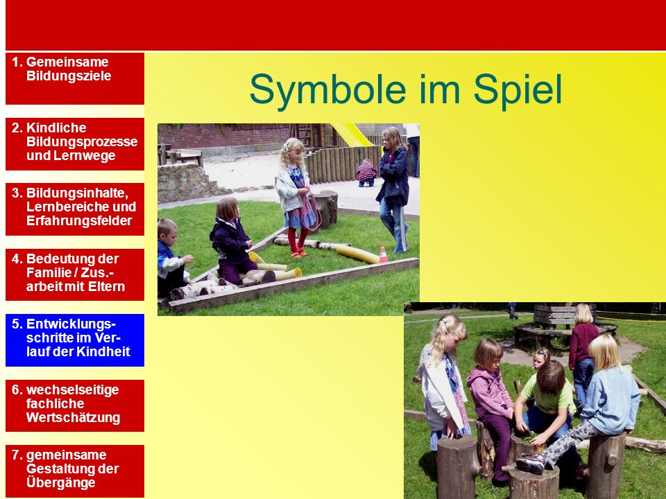 Symbole im Spiel 1. Gemeinsame Bildungsziele