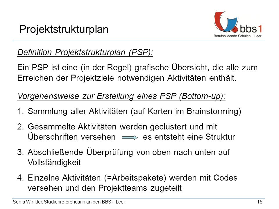 Projektstrukturplan Definition Projektstrukturplan (PSP):