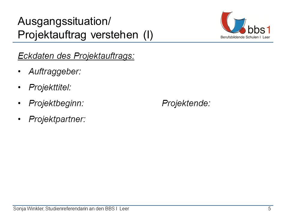 Ausgangssituation/ Projektauftrag verstehen (I)