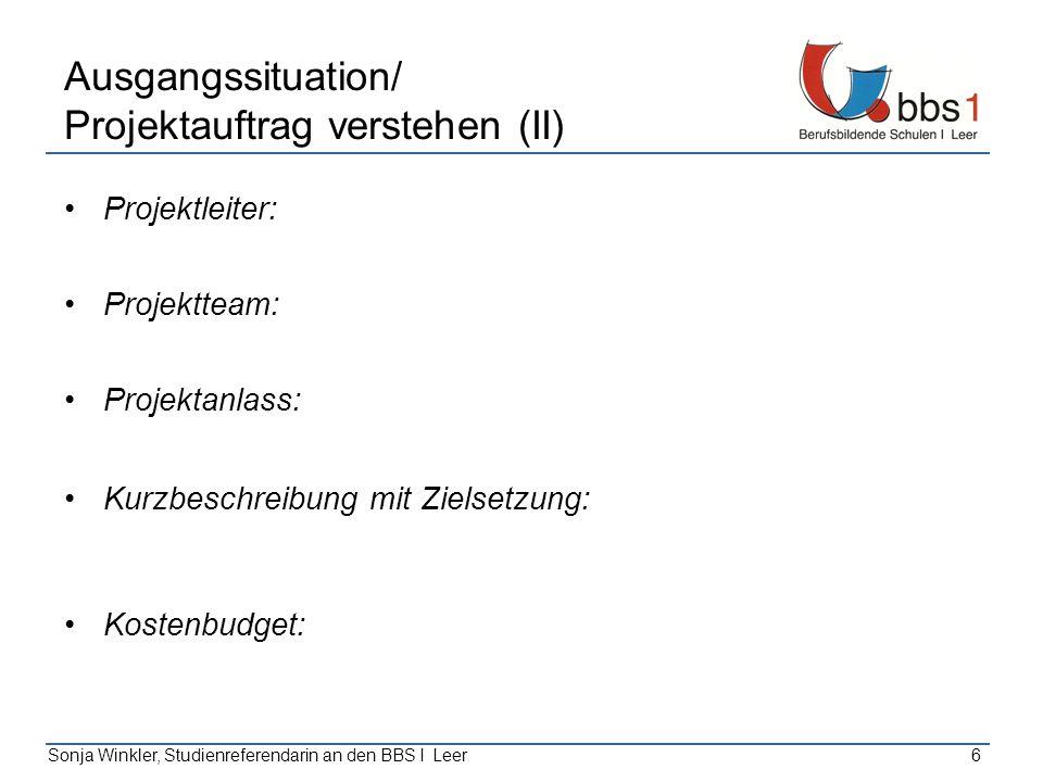 Ausgangssituation/ Projektauftrag verstehen (II)