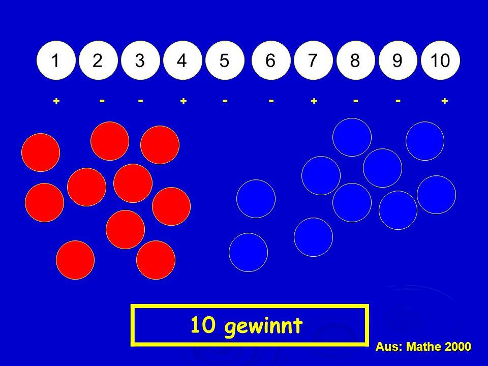 1 2 3 4 5 6 7 8 9 10 - - - - - - + + + + 10 gewinnt Aus: Mathe 2000
