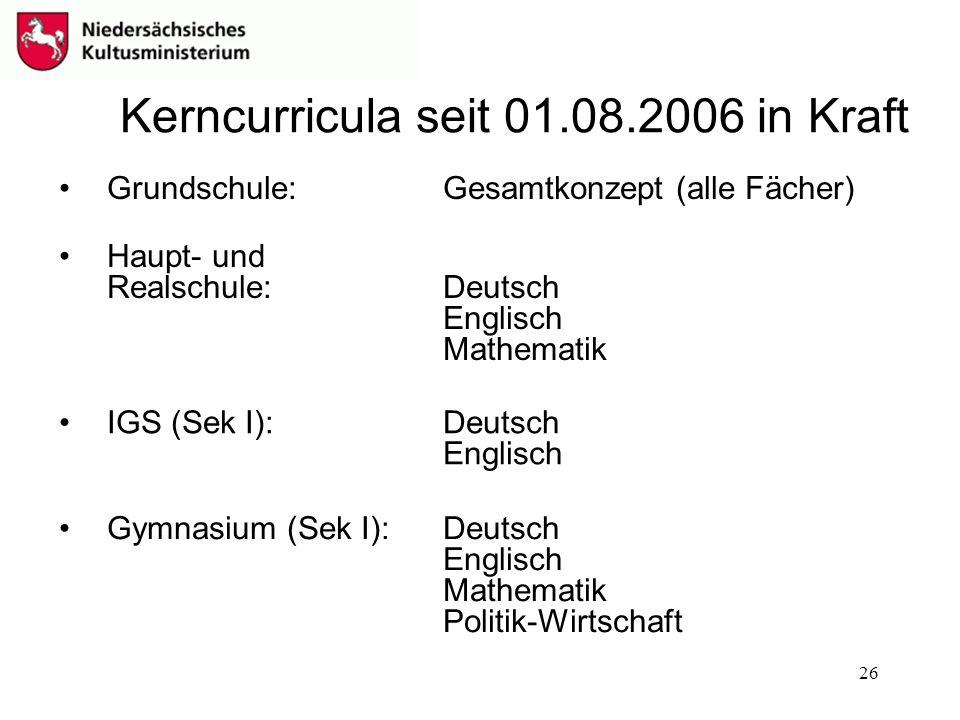 Kerncurricula seit 01.08.2006 in Kraft