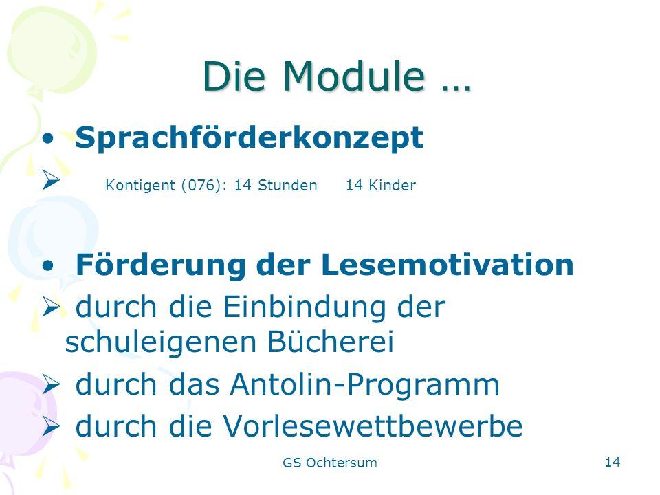 Die Module … Sprachförderkonzept Kontigent (076): 14 Stunden 14 Kinder