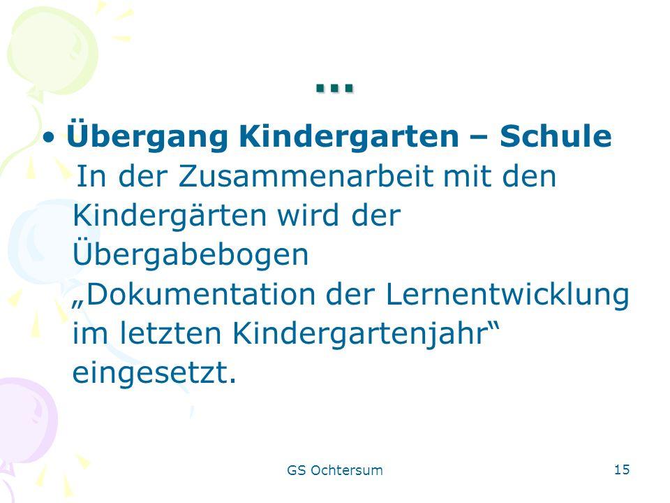 … Übergang Kindergarten – Schule Kindergärten wird der Übergabebogen