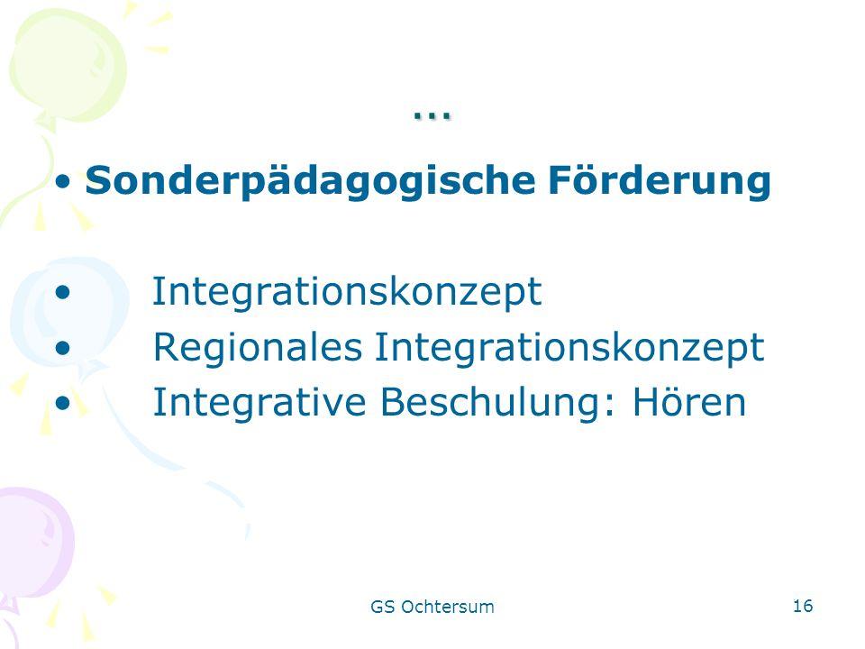 … Sonderpädagogische Förderung Integrationskonzept