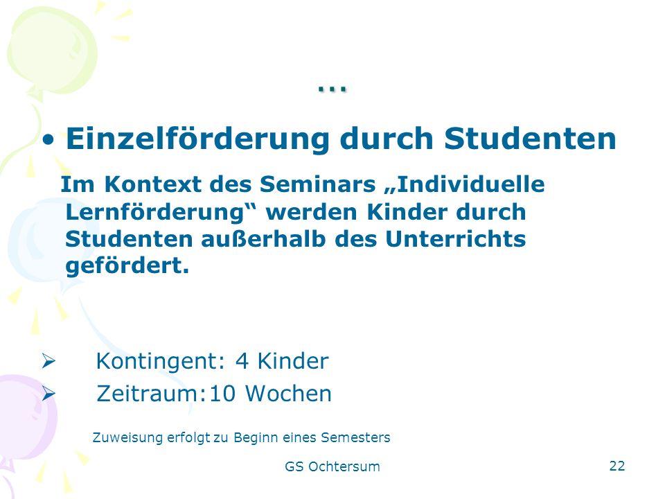 … Einzelförderung durch Studenten