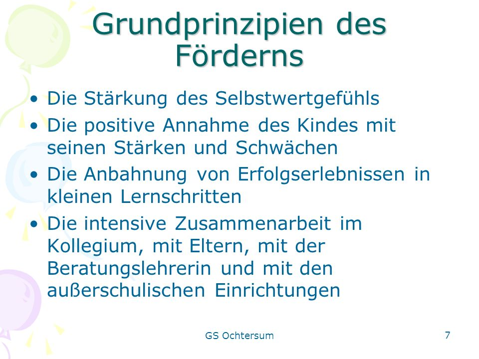 Grundprinzipien des Förderns