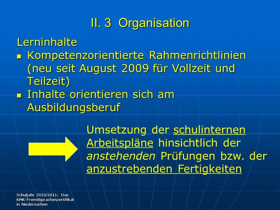 II. 3 Organisation Lerninhalte