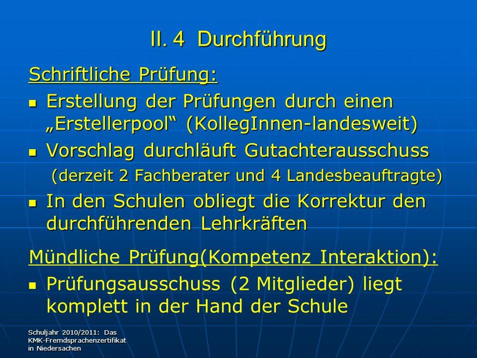 II. 4 Durchführung Schriftliche Prüfung: