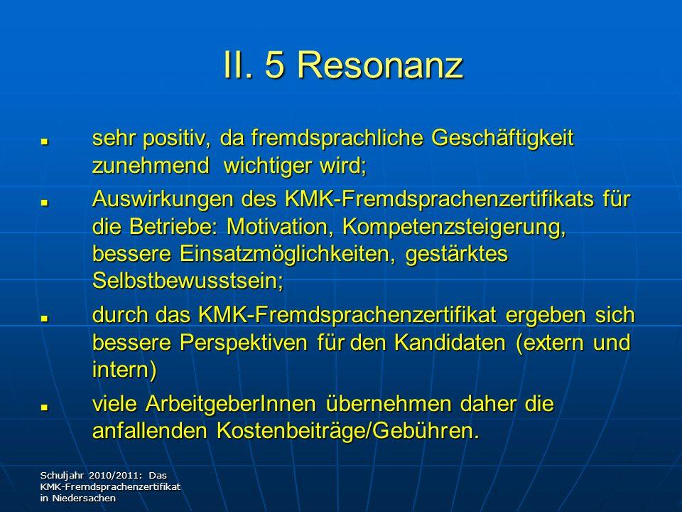 II. 5 Resonanz sehr positiv, da fremdsprachliche Geschäftigkeit zunehmend wichtiger wird;