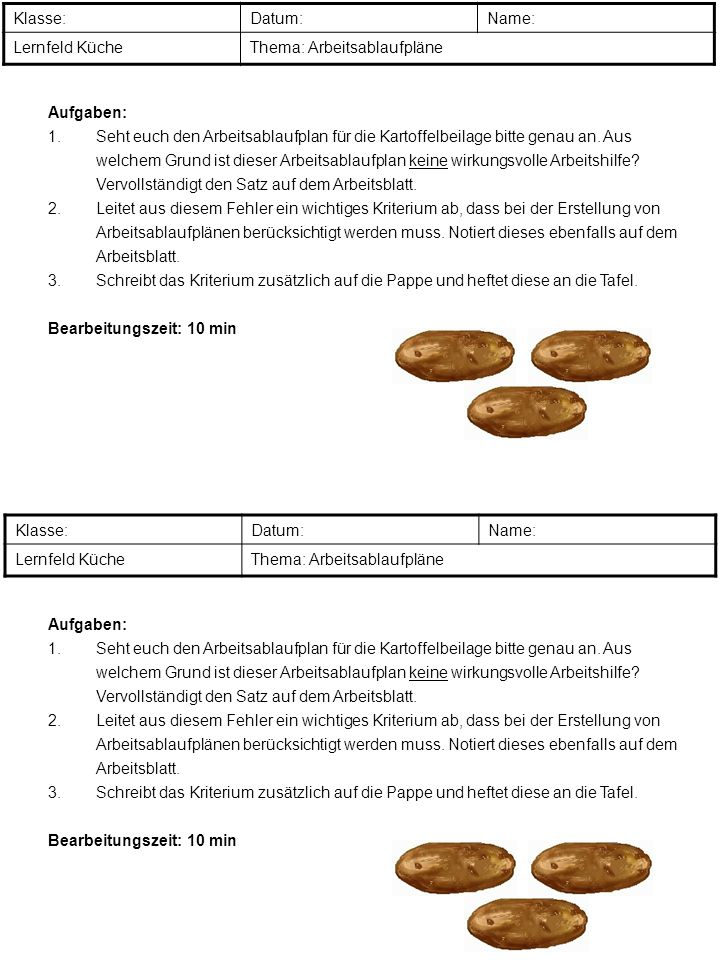 Klasse: Datum: Name: Lernfeld Küche. Thema: Arbeitsablaufpläne. Aufgaben: