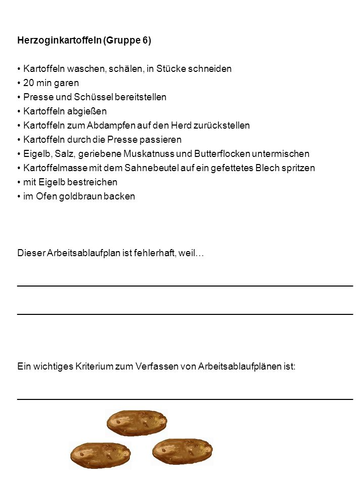 Herzoginkartoffeln (Gruppe 6)