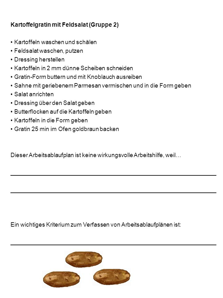 Kartoffelgratin mit Feldsalat (Gruppe 2)