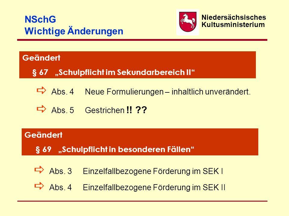 NSchG Wichtige Änderungen Geändert
