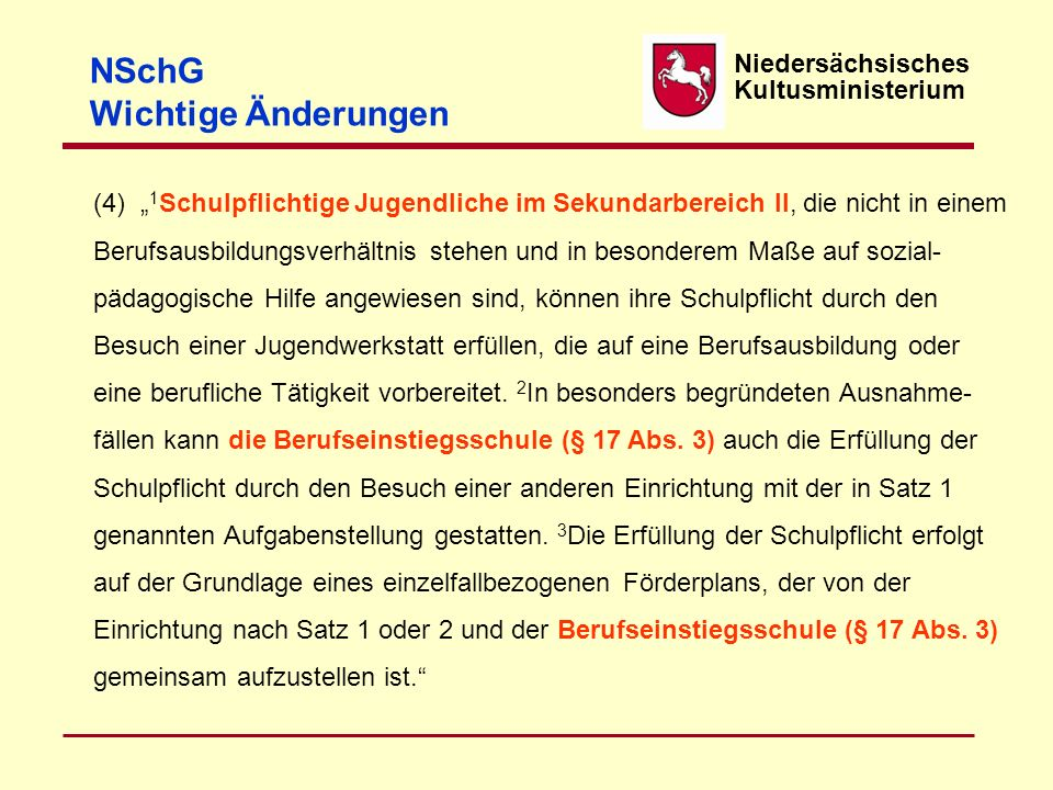 NSchG Wichtige Änderungen Niedersächsisches Kultusministerium