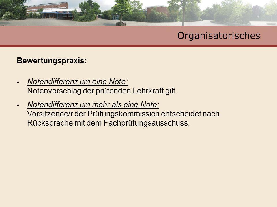 Organisatorisches Bewertungspraxis: