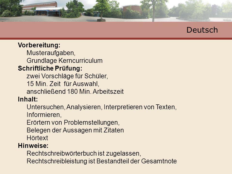 Deutsch Vorbereitung: Musteraufgaben, Grundlage Kerncurriculum