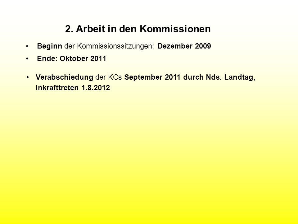 2. Arbeit in den Kommissionen